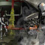 Vue d'artiste du DARPA Robotics Challenge : deux robots manoeuvre dans une usine