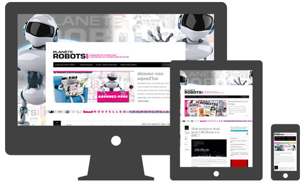 Site Internet Planète Robots adapté à une navigation sur tablettes et smartphone - Responsive Design