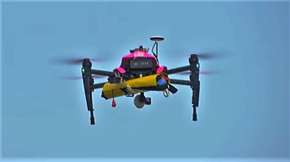 Un drone-sauveteur sur les plages de Biscarrosse
