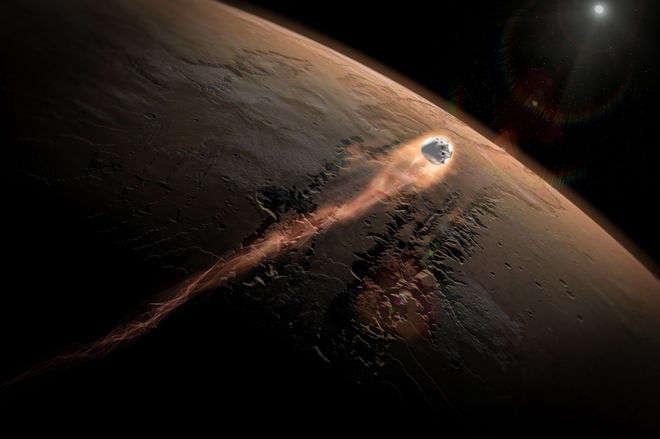Entrée de Red Dragon dans l'atmosphère martienne