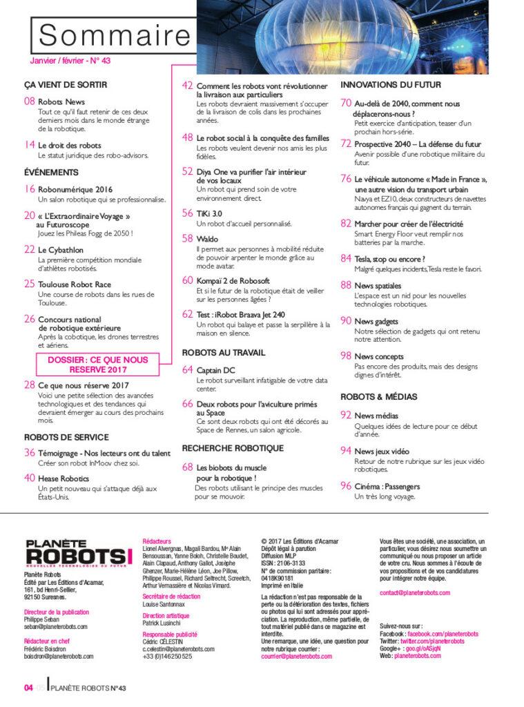 Sommaire Planète Robots 43 - technologies