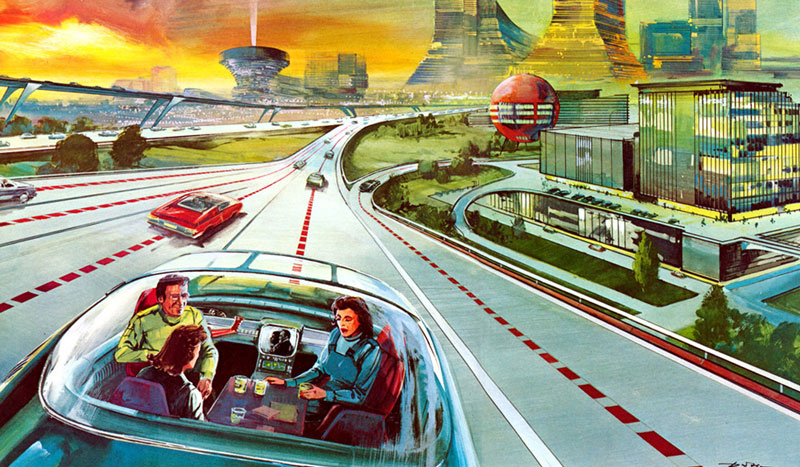 Illustration vintage de voitures autonomes