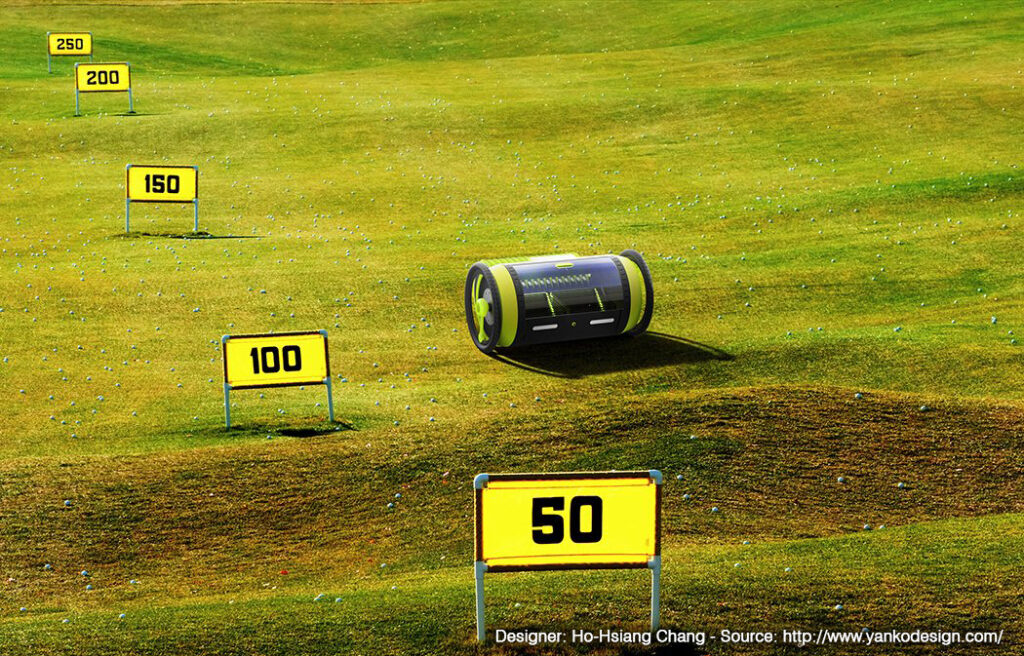 Golf Pro en action sur le practice