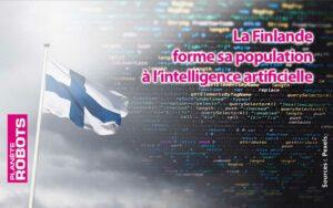 Drapeau Finlandais sur fond de code informatique