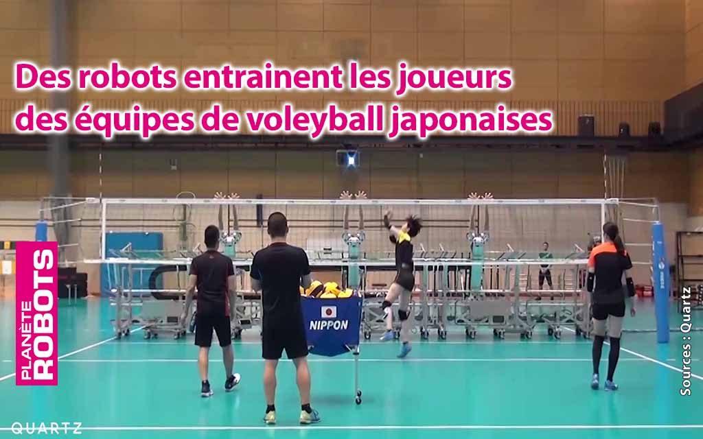Des humanoïdes entraînent l'équipe japonaise de volley-ball.