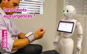 Un robot Pepper assiste une personne pour prendre sa tension