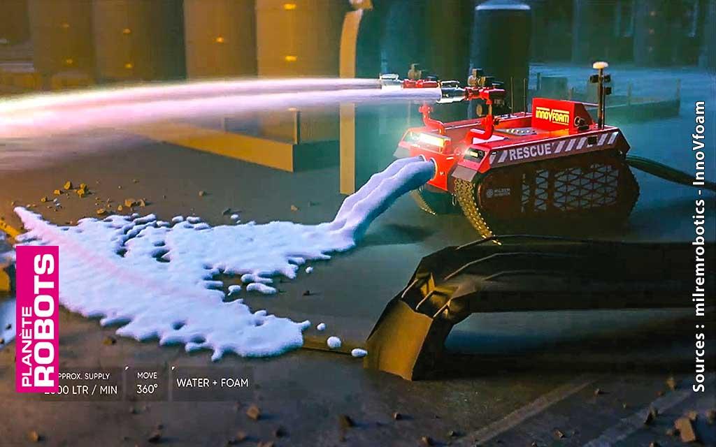 Le robot pompier de Milrem Robotics en action