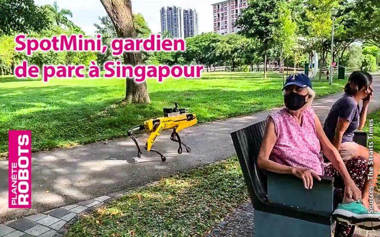 Singapour SpotMini fait une ronde dans un parc de Singapour
