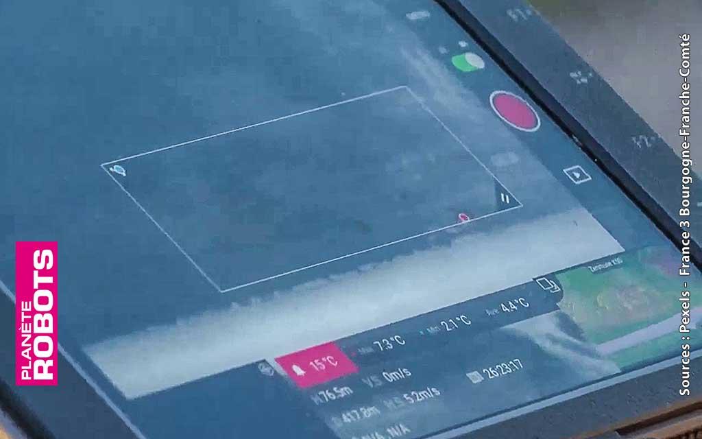L'écran d'affichage du drone équipé d'une caméra thermique