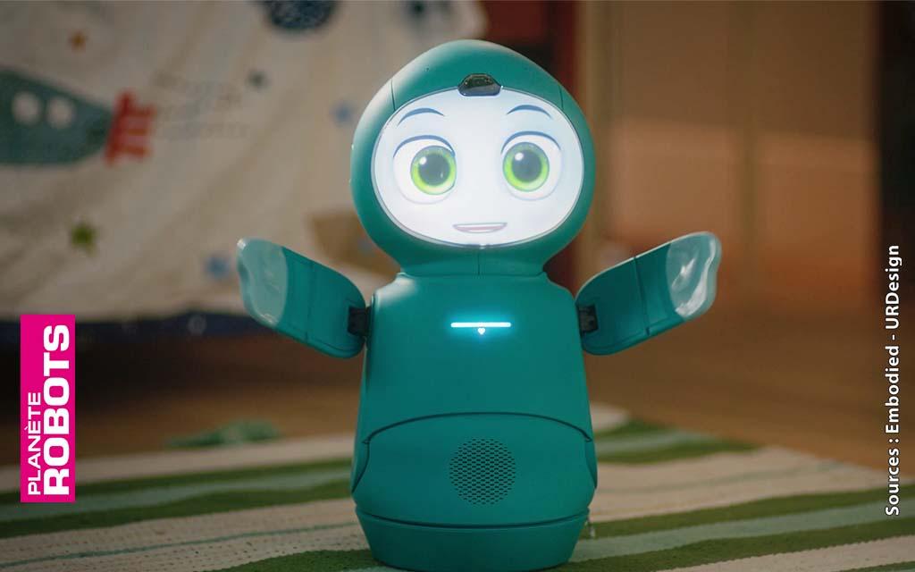 Le robot Moxie a sur ses extrémitées des capteurs qui lui permettent de réagir à des stimulus tactiles