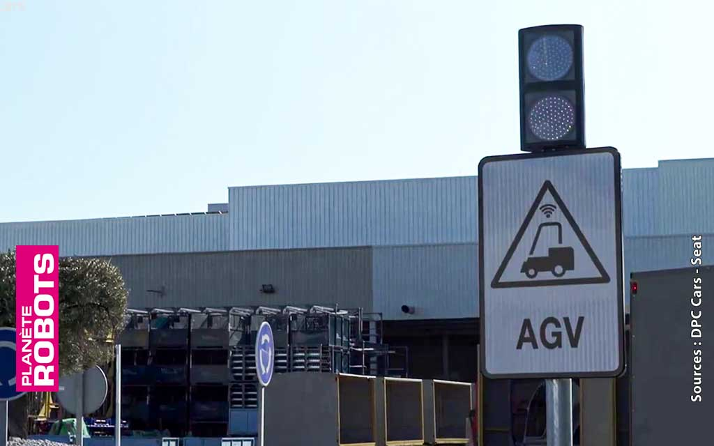 Les passages des robots AGV sont signalés par de simples panneaux de signalisation