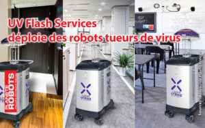 Montage photo mettant en scene le robot tueur de virus de Xenex
