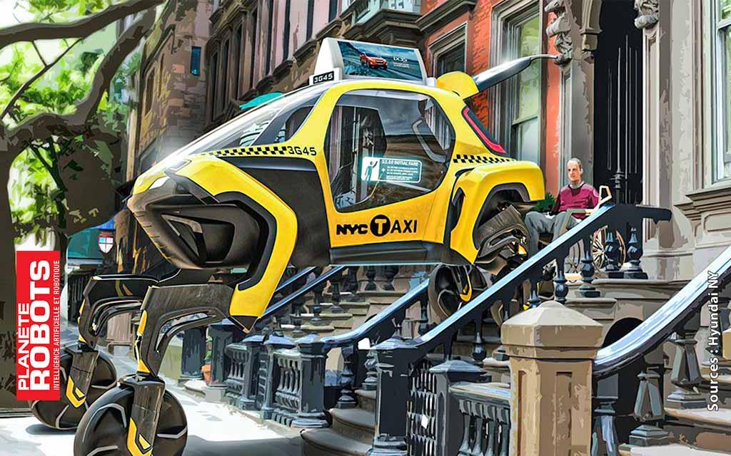 Concept de la version Taxy du robot Elevate qui représente ce que pourait-être un robot Boston Dynamics équipant un véhicule