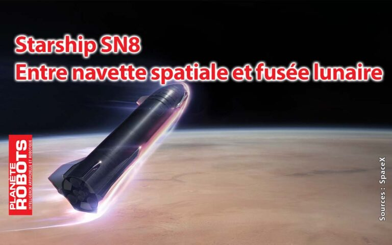 Visuel d'artiste d'une entrée de la fusée Starship dans l'atmosphère martienne