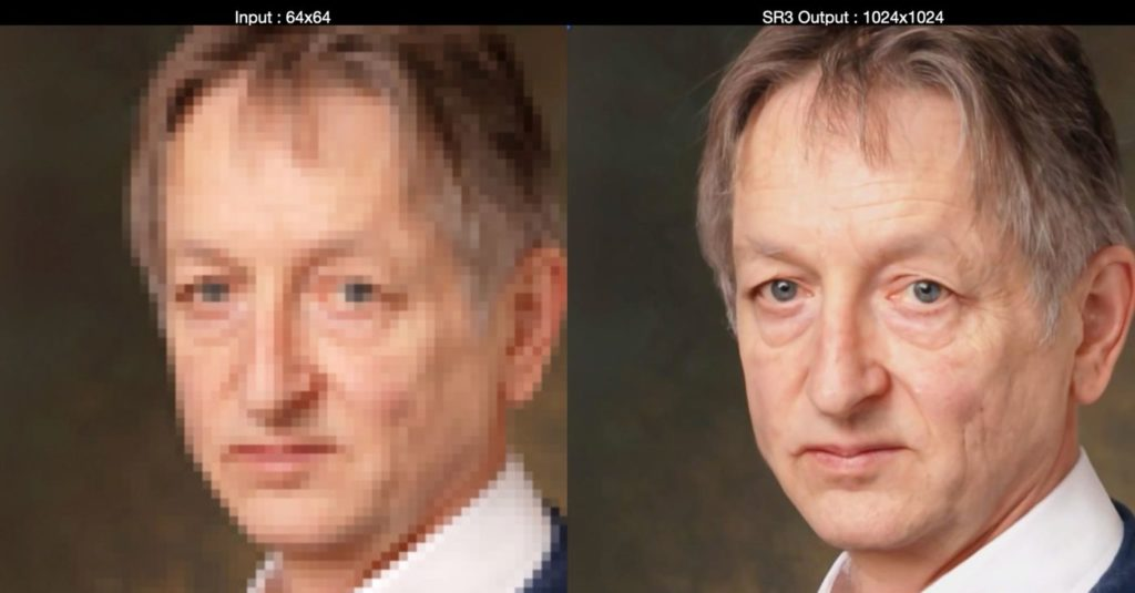 Le SR3 appliqué à améliorer la photographie d'un homme d'âge mûr.