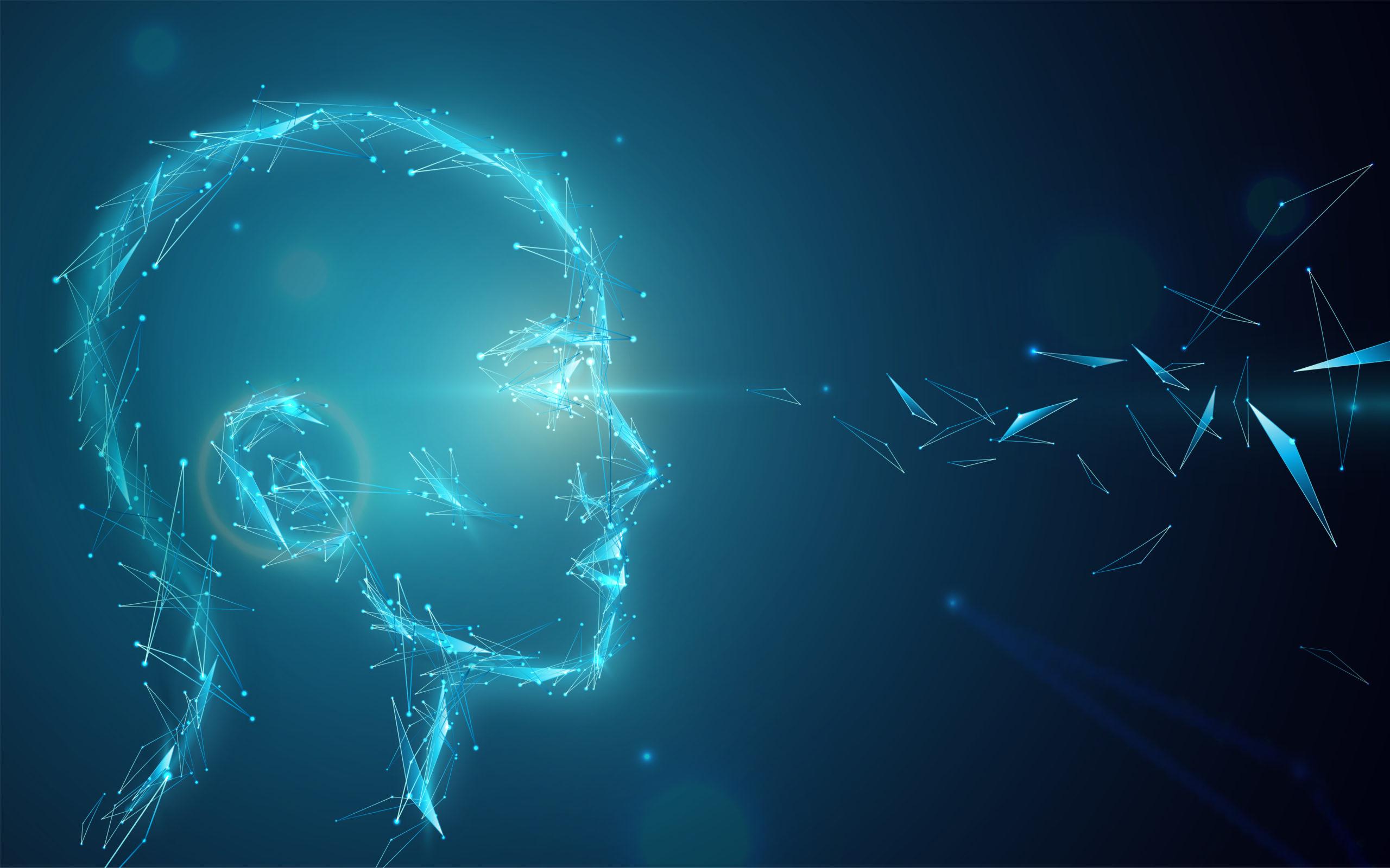 Un réseau de neurones formant un visage, illustration de l'IA DABUS