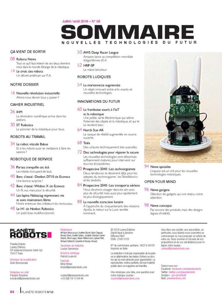 Le sommaire du magazine planète robot N°58